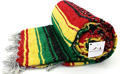 Open Road Goods Rasta Blanket or Hippie Blanket - Traditional Mexican Blanket/Mexican Falsa Blanket in Bob Marley Rasta Colors (Rasta Color Blanket)