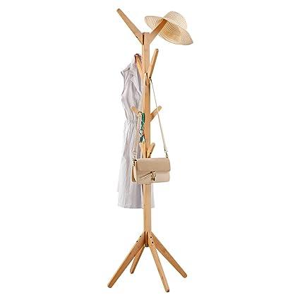 LANGRIA Perchero Bambú de Pie Tipo Árbol con 8 Ganchos en 4 Niveles y Pies Sólidos para Colgar Abrigos Gorros Chaquetas Gabardinas, Color Natural de ...