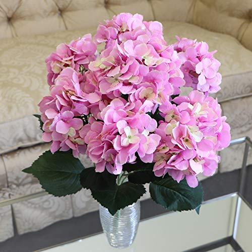 Larksilk Hydrangea Silk Flowers Plant | Artificial Hydrangeas Shrub with 7 Large Gorgeous Mophead Bloom Clusters, Leaves, Stems | Home Decor, Wedding, Event Centerpiece, Bouquets, Pink, Garden ()