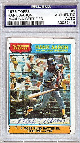 1976 Topps Autographed Baseball Card (Hank Aaron Signed 1976 Topps Trading Card - PSA/DNA Authentication - Autographed MLB Baseball Cards)