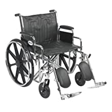 """Drive Medical Sentra EC Heavy Duty Wheelchair with Various Arm Styles and Front Rigging Options, Black, Bariatric 22"""""""