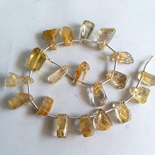 Brand New Superb Natural Golden RUTILATED Quartz Smooth Nuggets Beads,[Tumble] Size - 6x12 mm - 9x18 mm,8 inch Strand