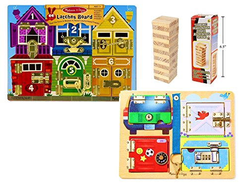(Melissa & Doug Deluxe Latches Board and Locks Board Combo with 48pc Tumbling Wood Blocks)