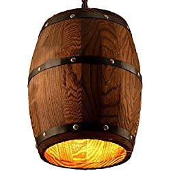 "Wood Wooden Wine Barrel Shade Ceiling Light Fixture Pendant Retro Industrial French Country Vintage Antique Chandelier Restaurant Bar Pendant Lamp Nostalgic Cafe (9.45"" Width X 13"" Height)"