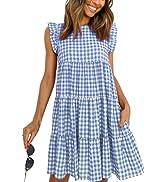 MISSJOY Women's Summer Dress Casual Plaid Dress Sleeveless Ruffle Sundress Round Neck A-Line Mini...