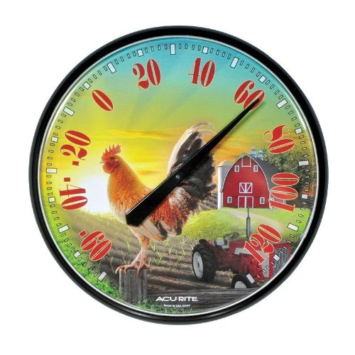 Chaney Instrument 12.5-Inch Rooster Sunrise Barnyard Tractor Thermometer