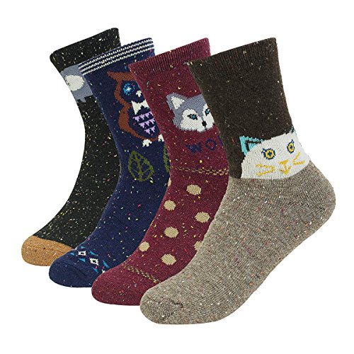 Haley Clothes Women Winter Warm Wool Socks Cute Animal Pattern Thick Knitting Novelty Casual Crew Socks (4 Pairs) from Haley Clothes
