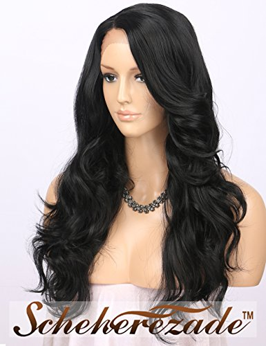 Scheherezade Natural Black Lace Front Wigs for Women, L Part Deep Parting Glueless Synthetic Wig Half Hand Tied Long Wavy Black Lace Front Wig for Women Heat Resistant 20 Inches (#1B) (Wigs Black Front Lace)