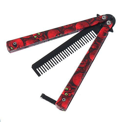 MAIYU Butterfly Knife Comb Trainer, Skull Pattern Metal Practice Blunt Balisong Stainless Steel Dull Pocket Knives Training with Sheath (Training Folding Comb,Red)