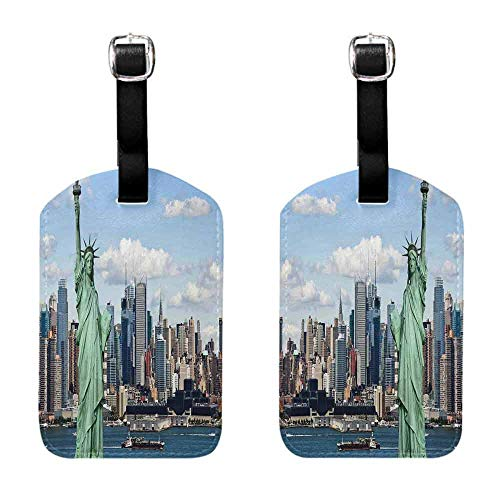 Luggage ID Tags - 2-pack New York,Statue of Liberty in NYC Harbor Urban City Print Famous Cultural Landmark Picture,Mint Blue Travel Accessories