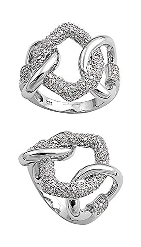 Sterling Silver Clear CZ Studded Chain Link Ring - size10 ()