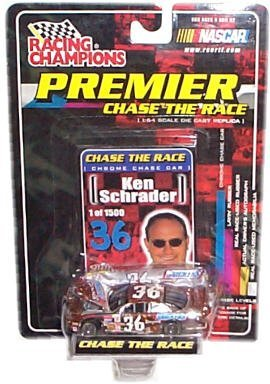Racing Champions - NASCAR - Premier: Chase the Race - Ken Schrader - Snickers #36 - Chrome Chase Car Replica w/Custom Car Cover, Collector Card and Display Stand