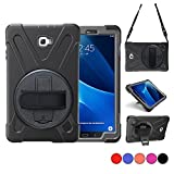 Galaxy Tab A 10.1 Case, TSQ SM-T580 T585【NO S Pen Version】 Three Layer Heavy Duty Rugged Protective Shockproof Case for Kids with Hand Strap,Shoulder Strap&360 Degree Stand for Samsung Tab A 10.1 Blk