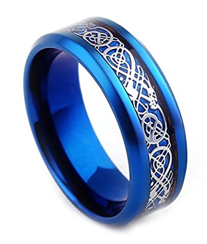 Tanyoyo Mens 8mm Stainless Steel Rings Carbon Fiber Silver Celtic Dragon Inlay Blue Plated 7-13 (8)