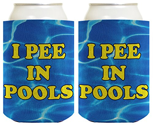- Funny Beer Coolie I Pee In Pools Gag Gift BBQ Swim New Pool 2 Pack Can Coolies