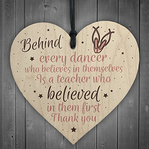 XLD Store Thank You Dance Teacher Gift Wooden Heart Special Goodbye Gifts For Her Friendship Sign ()