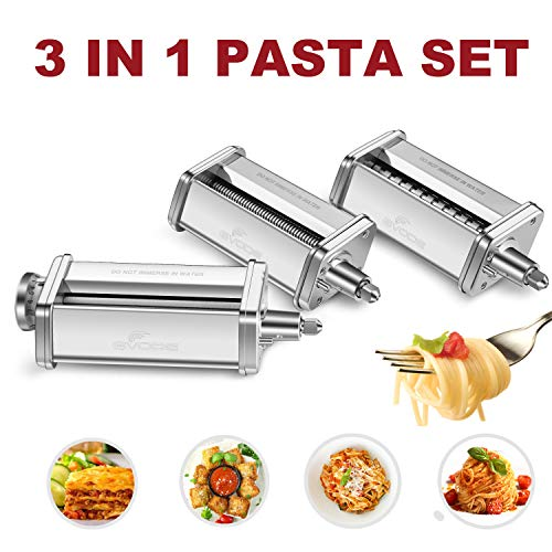 3-Piece Pasta Roller & Cutter Set Attachment for KitchenAid Stand Mixers,Stainless Steel Pasta Maker Accessory by Gvode (Noodle For Kitchenaid Mixer Maker)