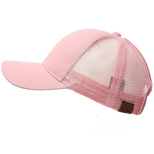 - C.C Ponytail Messy Buns Trucker Ponycaps Plain Baseball Visor Cap Dad Hat Pink