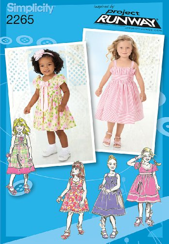 (Simplicity Project Runway Pattern 2265 Girls Dress in 2 Lengths with Bodice Variations Sizes 1/2-1-2-3)