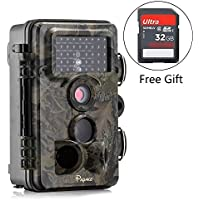 Trail Camera, Papake 1080P HD Wildlife Camera 12 MP Hunting Game Camera with Night Vision, 3 Zone Infrared Sensor IP66 Waterproof Deer Camera (With 32G SD Card)