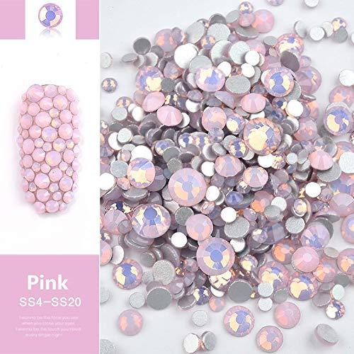 そんなに正しく眩惑するJiaoran ビーズ樹脂クリスタルラウンドネイルアートミックスフラットバックアクリルラインストーンミックスサイズ1.5-4.5 mm装飾用ネイル (Color : Pink)