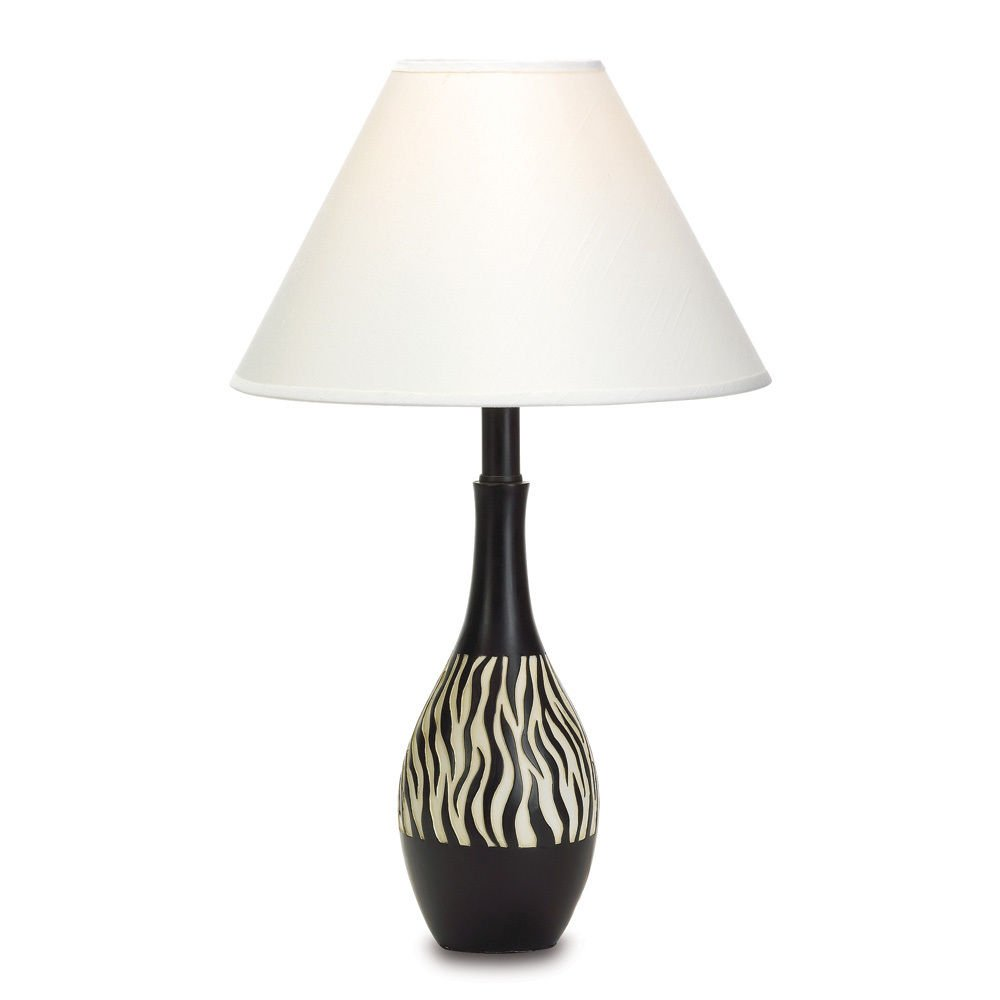 "Thegood88 African Safari Black Zebra Table Lamp 20"" Jungle Animal Print Decor"