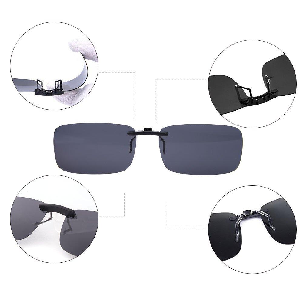 621fc1af6a TERAISE Polarized Clip-on Sunglasses Over Prescription Glasses Anti-Glare  UV400 for Men Women