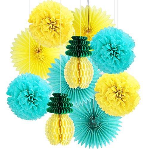BBTO - Juego de 10 piezas de decoración hawaiana para fiestas, diseño de piñas, papel de seda de miel, pompones de papel...