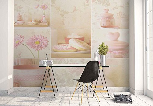 - Photo wallpaper wall mural - Collage Flowers Tapestry Breakfast - Theme Art & Creative - L - 8ft 4in x 6ft (WxH) - 2 Pieces - Printed on 130gsm Non-Woven Paper - 1X-1271893V4