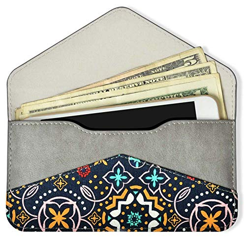 Women's Card Wallet Envelope Style Credit Card Holder Cute Cash Wallet for Ladies (Green Canvas with PU ()