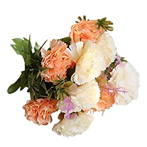 XGao 1pc Fake Carnations with 5 Heads Artificial Plants Leaves Real Touch Silk PU PE Flower for Vases Wedding Bride Bridesmaid Bouquet Home Office Garden Decor Party Arrangement Decoration (B) 67