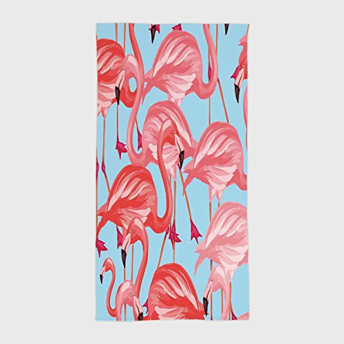 One Side Printing Hotel SPA Beach Pool Bath Hand Towel,Flamingo Tropical Birds Pattern Flamingos Colorful Exotic Animal Nature Artwork Coral and Light Blue,for Kids Teens and ()