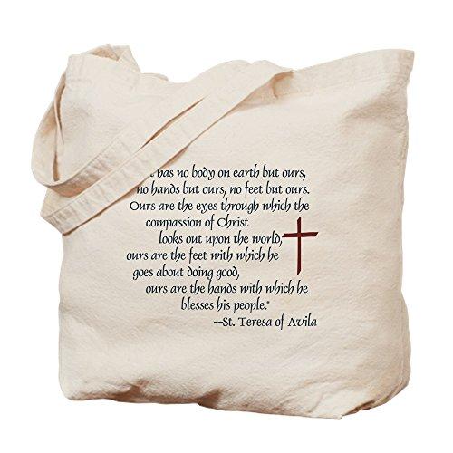 CafePress St. Teresa Of Avila Quote Natural Canvas Tote Bag, Reusable Shopping Bag (Teresa Of Avila Christ Has No Body)