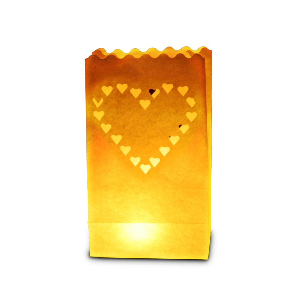 Candle Bags UK Candle Luminary Bags (Pack of 10) - Large Heart Design C002 BBQ Wedding Birthday
