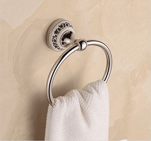 MBYW Modern Towel Rack Fashion Bathroom Towel Rail European/Blue and White Porcelain/Towel Rack/Antique/Stainless Steel/Round Towel Ring/Bathroom/Towel Hanging Ring/Pendant / ()