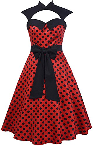 jeansian Damen Vintage Elegant Polka Dots Sleeveless Waist bow A Line Dress WHS451 Red