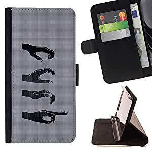DEVIL CASE - FOR Samsung Galaxy A3 - Hands Signs - Style PU Leather Case Wallet Flip Stand Flap Closure Cover