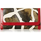 FASH Giraffe Print Clutch Wallet with Checkbook Holder and Red Trim