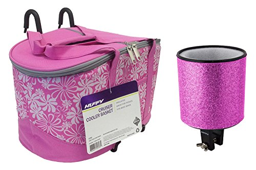 Bike Insulated Cooler Basket for Girls Cruiser Bicycle with Matching Insulated Cozy Cup Drink Holder (Pink) (Bag Pink Snowboard)