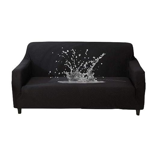 HOTNIU Funda Elástica de Sofá Funda Impermeable para sofá Antideslizante Protector Cubierta de Moda (3 Plazas, Negro)