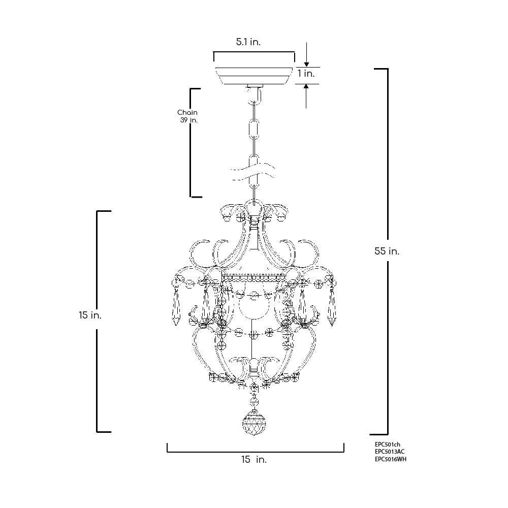 Edvivi Amorette 1-Light Chrome Finish Mini Pendant Chandelier Wrought Iron Ceiling Light Fixture | Glam Lighting by Edvivi (Image #5)