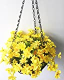 artificial flowers for outdoors - Lopkey Artificial Daisy Flowers Outdoor Indoor Patio Lawn Garden Hanging Basket with Chain Flowerpot