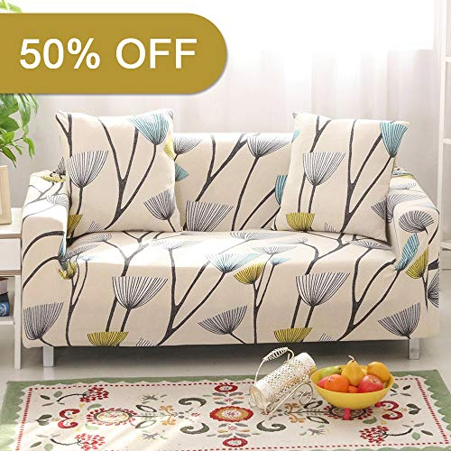 (Lamberia Printed Sofa Cover Stretch Couch Cover Sofa Slipcovers for 3 Cushion Couch with One Free Pillow Case (Dandelion, Sofa 3 Seater))