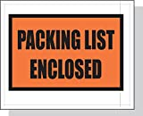 4.5'' x 5.5'' x 2 mil Clear Plastic Packing List Envelopes with ''Packaging List Enclosed'' Printed on Orange Background (Case of 1,000)