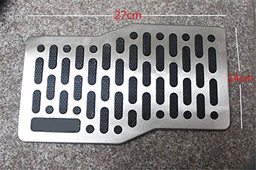 FidgetKute Car Floor Stainless Steel Heel Plate Pedal Carpet Pad Plate Pedal Foot Rest Mat
