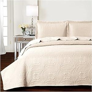 Mellanni Bedspread Coverlet Set Beige - BEST QUALITY Comforter Oversized 3-Piece Quilt Set (King/Cal King, Beige)
