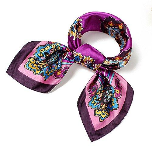 QBSM Womens Purple Square Satin Silk Neck Head Hair Sleeping Scarf Wrap Hijab