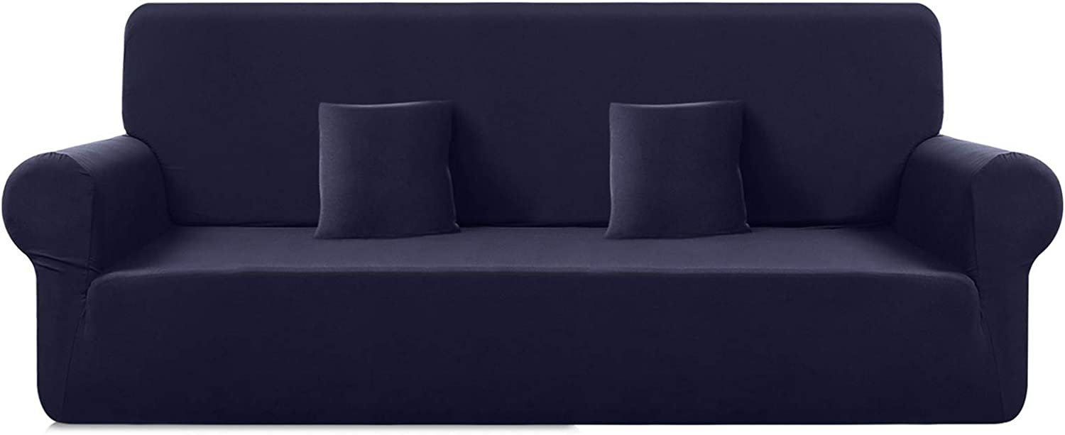"TAOCOCO Polyester-Spandex Fabric Oversized Sofa Slipcovers, Stretch Water Resistance One-Piece Couch Cover, Furniture Protector Sofa Cover with 2pcs Pillowcases(X-Large 92""-113"", Dark Blue)"