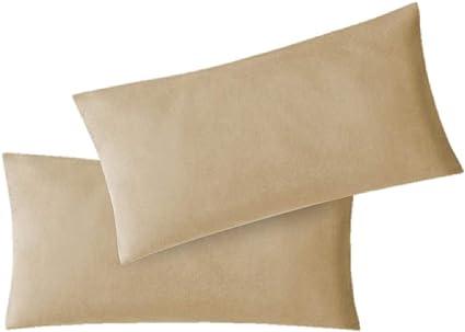 EXKLUSIV HEIMTEXTIL Housse de taies doreiller en Jersey 2 Pack /économique avec Fermeture /éclair de Haute qualit/é 40 x 145 cm Argent