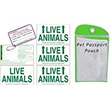 Live Animal Label Set of 5 w/ Pet Passport Pouch GREEN